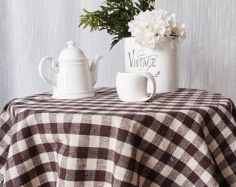Tablecloth, Knitting Plaid Linen Cotton Tablecloth, Vintage Decorative Daily Kintchen Dining room tablecloth, Square rectangle tablecloth