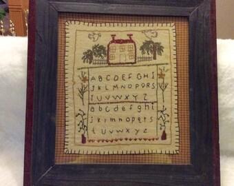 Antique ABC alphabet embroidered sampler. Framed free ship to US