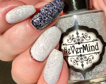 """Silver Holographic Nail Polish - Holo White Glitter Topper - Top Coat - """"Snow Daze"""" - Winter Solstice Collection"""
