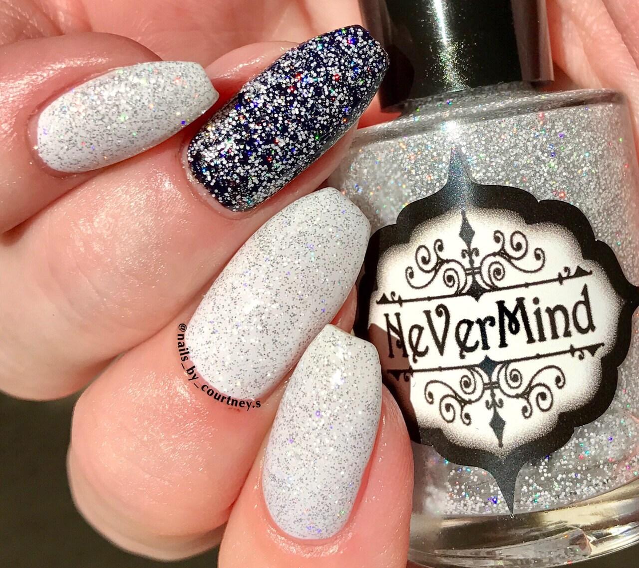 White Nail Polish In Winter: Silver Holographic Nail Polish