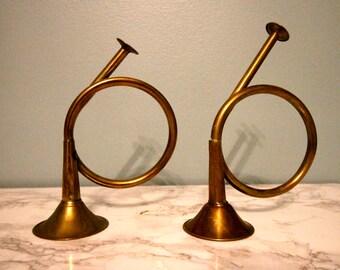 Set of 2 Vintage Brass Trumpets