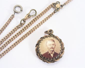 Antique Double Sided Real Photo Fob and Pocket Watch Chain Estate