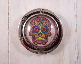 Sugar Skull Purse Hanger, Handbag Hook, Purse Hook, Dia de los Muertos Purse Hanger, Calavera Purse Hook, Day of the Dead Purse Hook