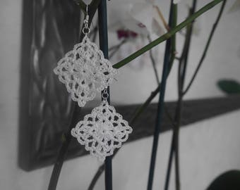 White crochet earrings