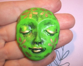 "GOLD FLOWER GIRL - Polymer Clay Face Cabochon,One of a Kind,Ooak,1.75"" by 1.5"",flower,flowers,large focal,Granny Smith Green,bead,flat back"