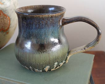 GREEN COFFEE MUG -  metallic green, brown, blue and yellow handmade pottery, for coffee, tea, latte, espresso or anything else!