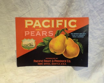 Crate Label, Pacific Pears and Battleship, Old Fruit Crate Label, Agricultural Salvage
