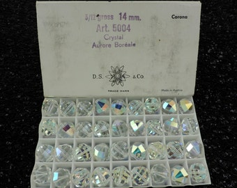 Vintage SWAROVSKI® Crystal 14mm Round Beads, Aurora Borealis, SIX(6)Article #5004 14MM Round Beads