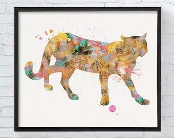 Watercolor Cougar Print, Cougar Art, Cougar Painting, Mountain Lion, Puma, Panther, Catamount, Animal Prints, Animal Nursery Decor, Framed