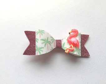Flamingo hair bow, flamingo hair clip, flamingo barrette, palm tree hair clip, palm tree hair bow, palm tree barrette, pink flamingo