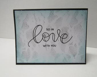 Handmade greeting card - So in love with you - Snakeskin - Lace - Wedding - Anniversary card - Just because - Gift for him - Gift for her