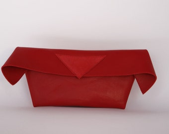 Red leather clutch, womens red leather bag, CollectionWN