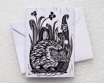 Card Lino Print / HedgeHog A6