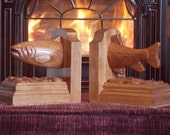 TROUT BOOKENDS Wood Carvi...