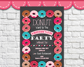 Donut Invitation - PDF JPG Instant Download Printable Digital File