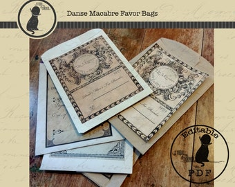 Halloween Favor Bags, Danse Macabre Favor Bags, Halloween Treat Bags, Halloween Goodie Bags, DIY Halloween Favor Bags,