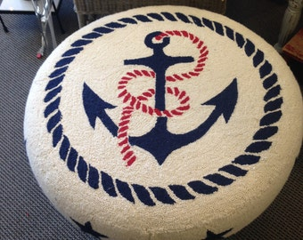 Hand Hooked Ottoman and Pillow with Anchor Motif