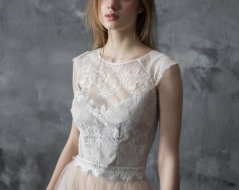 Lace wedding top separate, ivory creamy lace top, bridal top, wedding blouse, wedding crop top/ Only one size EU36/ Ready to ship!