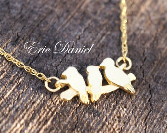 Three Bird Necklace 10k 14k 18k in Solid Gold White Yellow or Rose, Bird and Branch Necklace, Solid Gold Bird Necklace, 14K Bird