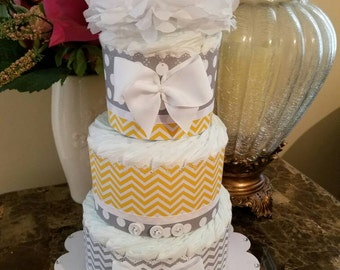 Yellow And Gray Baby Shower Centerpiece / Three Tier Yellow And Gray Diaper Cake / Yellow And Gray Baby Shower