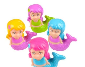 Mermaid Squirt toys (4), party favors/cupcake toppers, party supplies, mermaids, mermaid party