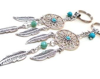 SALE! Silver Dream Catcher Charm/Keyring + Turquoise Beads, Dreamcatcher Keyring, Bag Charm, Dreamcatcher Keychain,Car Accessory,Travel Gift