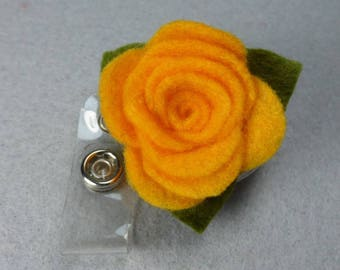 Orange Flower ID Badge Reel Made-to-Order Name Badge Holder -Upcycled-Recycled - Repurposed - ID Badge Holder -Retractable Badge Reel - Clip