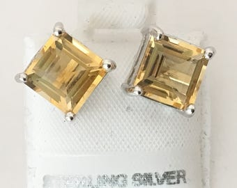 Yellow Citrine 8 mm Square Stud Earrings 925 Sterling Silver  gw17-162