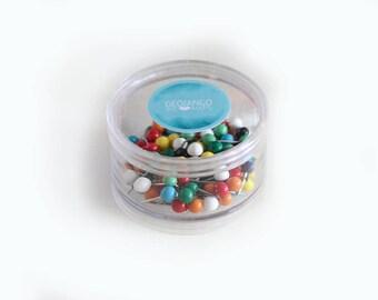 Map Push Pins 100 Collection | 100 Small Push Pins | Map Pins | SMALL Ball Push Pin | Select any color