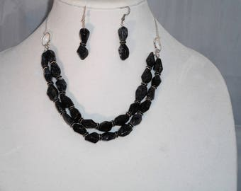 Black Moss Agate Necklace & Earring Set
