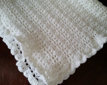 Baby Blanket Crochet - Infant Afghan, White Baby Blanket, Baby Blanket Ideas, Baby Blankets