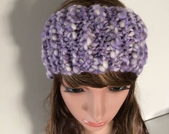 Knit headband - knit ear warmer - knitted head wrap  -  purple - keep the wind out of your ears when walking without over heating