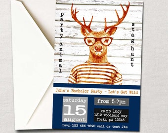 Let's Get Wild ~ Party Animal Bachelor Party Invitation ~ Stag Hunt/Hunting Weekend ~ Custom DIY Printable