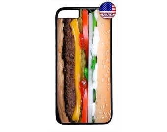 Hamburger Food Funny Case Cover for iPhone 4 4s 5 5s  5C 6 6s 6 Plus 7 7 Plus iPod Touch 4 5 6 case Cover