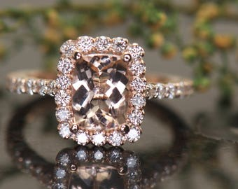 1.50ct Elongated Cushion Cut Morganite & Diamond Engagement Ring in Rose Gold, Scalloped Halo, Prong Set Diamonds, 1/2 Eternity, Madison B