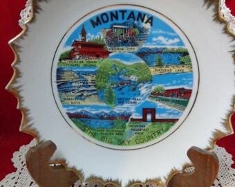 Vintage Montana Collectible Plate Vintage State Plate Montana
