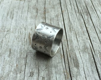 Sterling Silver Ring, Wide Band Ring, Stamped Band, Stamped Ring, Vintage Look Ring, Silver Ring, Minimalist Ring, Boho Ring
