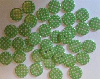 spotty buttons, polka dot buttons, green buttons, round buttons, green spotty buttons, matildas crafts, uk seller, buttons, bulk buttons