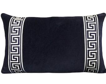Navy Blue Velvet Belgium Cotton Greek Key Decorative Pillow Cover - Lumbar Pillow - Throw Pillow - Greek Key End Bands One Side