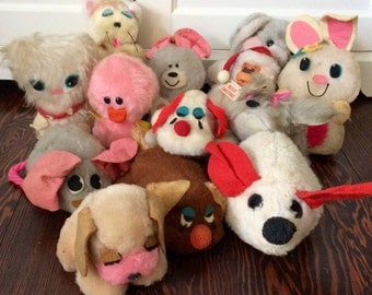 Mixed Lot of Vintage Russ Plush Dolls, Vintage Russ Dolls,1970s Russ Plush Dolls,Plush Russ Berrie Dolls, Russ Mouse, Russ Stuffed Animals