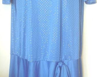 Vintage 1980s 80s Risa Ann New York Blue Sparkle Dress Drop Waist with Bow Size 1X Button Shoulder Gathered Shoulder Seam Classic EC BIN