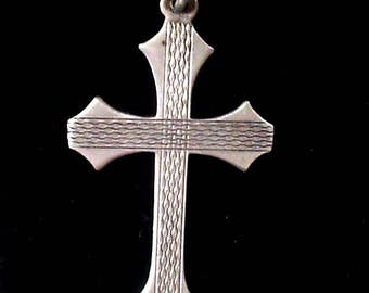 Vintage sterling silver cross and chain necklace, patterned cross, silver pendant, religious pendant, solid silver vintage jewellery