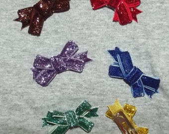 SALE! Puppy Bows ~ dog hair SMALL pet snap clips GLITTER topknots