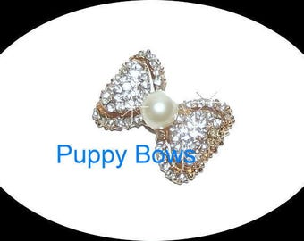 """Puppy Bows ~5 different styles PEARL rhinestone dog TIARA barrette pet hair clip small only 1""""  ~USA seller"""