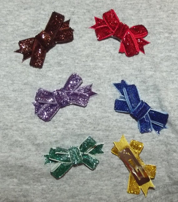 SALE! Puppy Bows ~ dog hair SMALL pet snap clips GLITTER topknots (fb48)