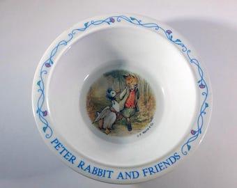 Vintage Peter Rabbit and Friends Melamine Bowl, Jemima Puddle-Duck, Mr Tod, Beatrix Potter, Soup, Salad, Cereal, Dessert Bowl