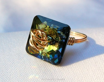 Ring Square Swarovski Crystal 14K Gold Fill Wire Knot Design Color Tabac Green US Ring Size 7.5  DR57