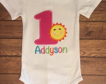 You Are My Sunshine Summer Sun Embroidered Birthday Shirt or Baby Bodysuit