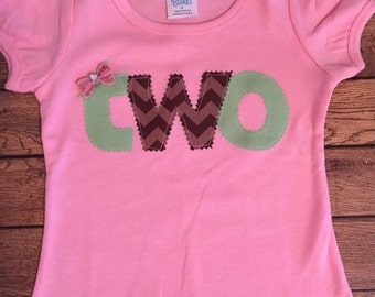 Pink, Brown, and Sage Green Birthday Shirt or Baby Bodysuit