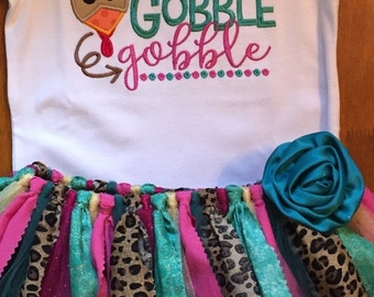 Little Miss Gobble Gobble Thanksgiving Turkey Scrap Fabric Tutu Outfit